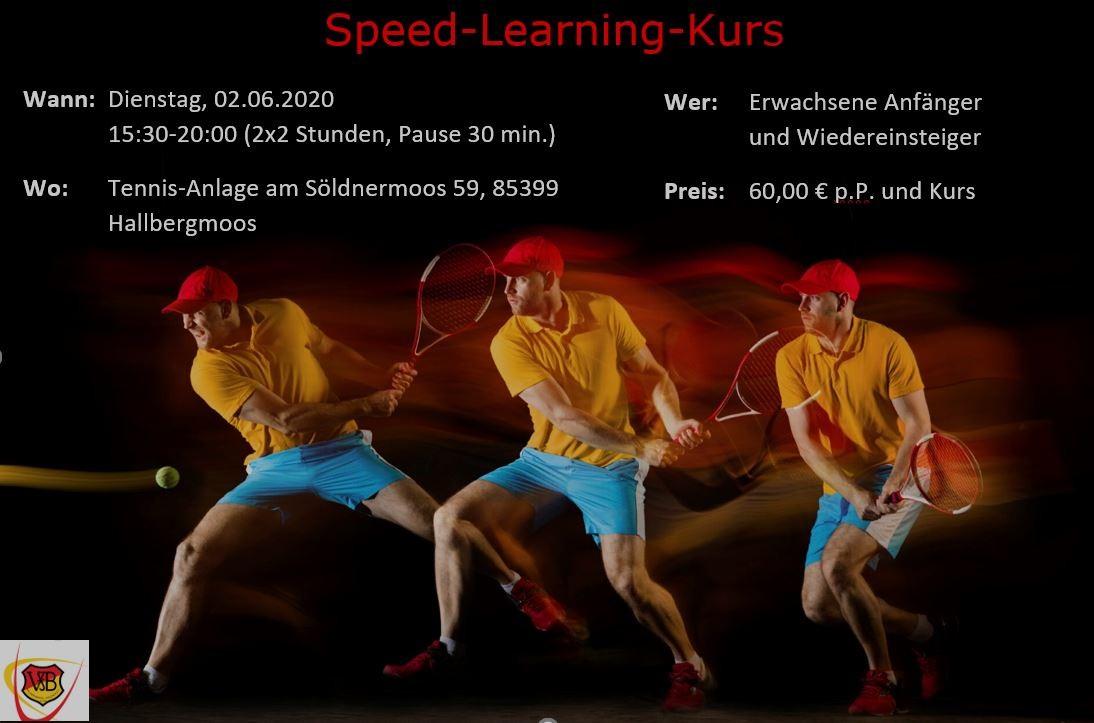 Tennis Speed-Learning Kurs am Dienstag 02.06.2020 für Erwachsene Anfänger und Wiedereinsteiger