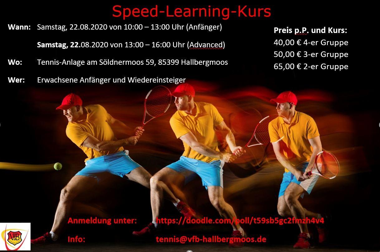 Tennis Speed-Kurs am Samstag 22.08.2020