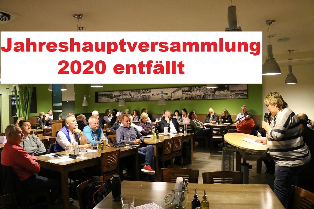 Jahreshauptversammlung 2020 entfällt